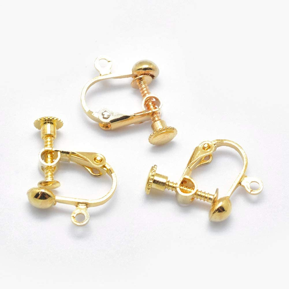 Craftdady 100Pcs Golden Brass Screw Back Clip On Earrings Converters 18x14mm Non Pierced Clip Adapters with Ring Loop