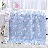 DUIPENGFEI Sechsschichtiges Baumwoll-Kinderhandtuch Aus Baumwolle, Baby-Gaze-Badetuch, Babydecke, Steppdecke Und Badetuch-Set, 2 Packungen, Ocean World, 110 * 110 cm