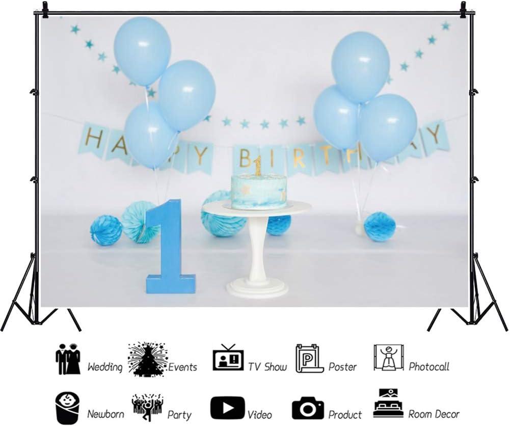 Haoyiyi 7x5ft Happy Birthday 1st Backdrop White Blue Ballons 3D Flowers Background Photography Photo Child Kids Event Boy Bady Celebrate Cake Smash Table Dessert Decor Home Decoration Supplies