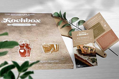 Kochgeschenkbox mit 52 köstlichen Rezepten, 2 Kochschürzen und 1 Kochlöffel, kulinarisches Geschenk für Köche zur Hochzeit, Geburtstag, Valentinstag… (Karton)