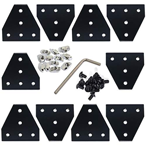 KOOTANS 10pcs 2020 Series Black 5 Hole T Shape Joint Plates with 50pcs M5 T Nuts + 50pcs M5x8mm Hex Socket Cap Screws + 1pcs Wrench, for Standard 6mm Slot Aluminum Profile 3D Printer Frame