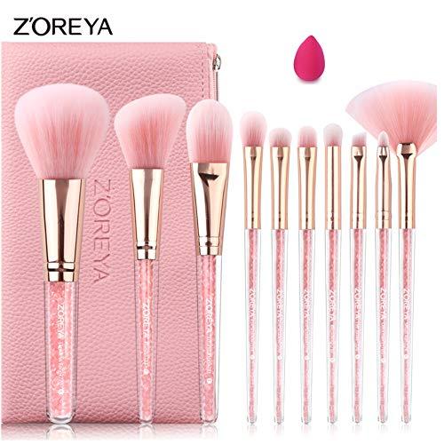 ZOREYA Pinceles de Maquillaje Juego Cristal Brillo Rosa Interior Lote 10pcs con Powder Contour Foundation Shading Blending Brow Brush