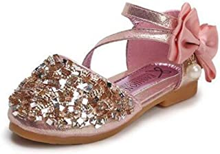 tomik Leather Shoes Casual Girls Princess Flat Heel Party Shoes Sequins Bow Pearl Kids Shoes for Girls