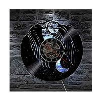 動物のフクロウビニールレコードの壁時計-ポスター-ユニークなリビングルームの壁の装飾を取得-男の子と女の子、友達、男性と女性のための ユニークなアートデザイン,With light