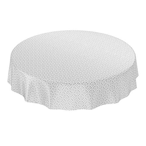 ANRO Nappe en Toile cirée Lavable à la Forme Arrondie - Style rétro Uni Trend - Gris/Argent - 140 cm