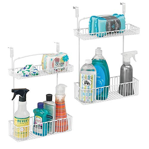 mDesign Metal Farmhouse Over Cabinet Kitchen Storage Organizer Holder or Basket - Hang Over Cabinet Doors in KitchenPantry - Holds Dish Soap Window Cleaner Sponges - 2 Pack - Matte White