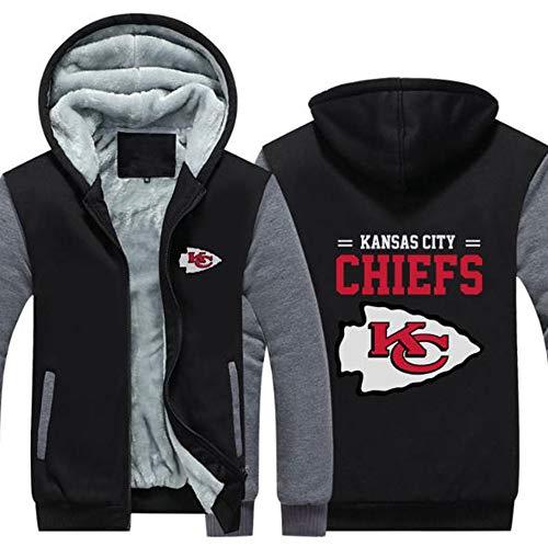 LCY Männer NFL Hoodies - Kansas City Chiefs Football Fans Langarm Eindickung beiläufige Reißverschluss Jersey Sweater,B,6XL