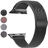 Mediatech Cinturino di ricambio compatibile con Apple Watch 44 mm 42 mm 40 mm 38 mm Cinturino in acciaio inox con chiusura magnetica compatibile con iWatch Series 6/5/4/3/2/1 (42 mm / 44 mm, nero)