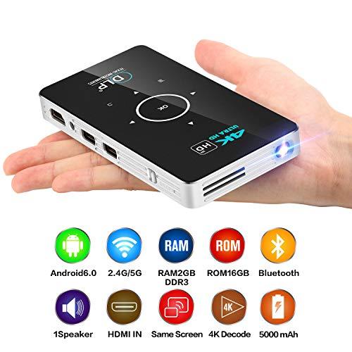 Instan Mini proyector 4K HD Proyector Inteligente C6 Eye Protection DLP Technology Office Mini proyector inalámbrico portátil HD Puedes Ver películas en casa mira películas en la Naturaleza,2G+32GB