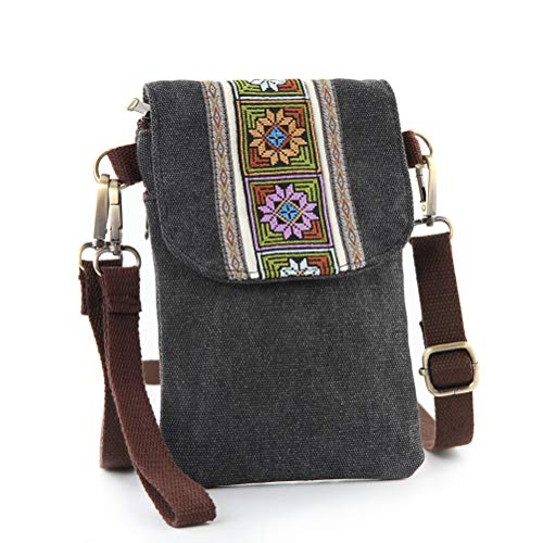 Vintage Embroidered Canvas Small Flip Crossbody Bag Cell Phone Pouch for Women Wristlet Wallet Bag Coin Purse (Dark Grey 02)