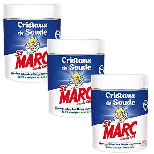 St Marc Cristaux de Soude Nettoyant Multi-Usage 100% d'Origine Naturelle 500 g - Lot de 3
