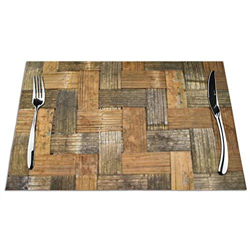 Bernice Winifred - Manteles Individuales para Mesa de Cocina con patrón de Tejido de bambú Antiguo, Antideslizantes y Lavables, ecológicos, Ideales para la Cocina tamaño 45 * 30 * 0,1 cm 4 Piezas
