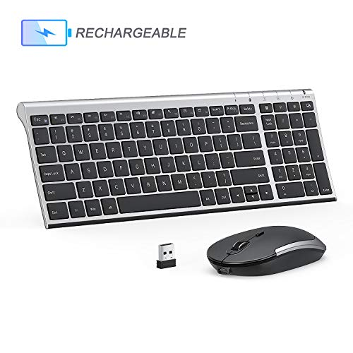 Rechargeable Wireless Keyboard Mouse Combo, Jelly Comb 2.4GHz Ultra Slim Compact Full Size Wireless Keyboard Mouse for Laptop, PC, Desktop Computer, Windows OS