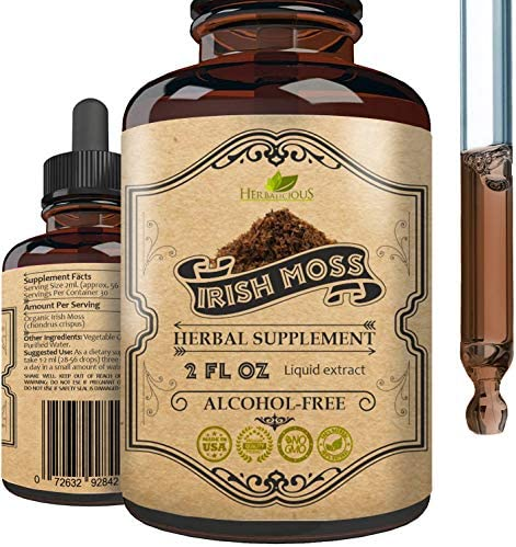 HERBALICIOUS Natural Irish Moss Extract Organic Drops for Health Thyroid Function Support Healthy product image