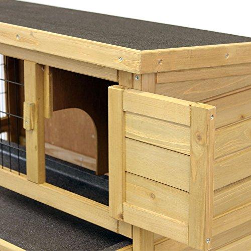 Kaninchenstall / Hasenstall EMMA auf 2 Etagen – 92x45x81 cm – Kleintier-Stall für Draußen. Der wetterfeste, doppelstöckige Stall für 2 Kaninchen – Timbo Hasenkäfig und Hasenstall - 4