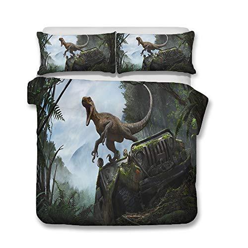 QWAS Juego de cama de tres piezas de dinosaurios, sábana bajera con estampado de dinosaurios, sábana para cama infantil, 135 x 200 cm, 140 x 210 cm (A1, 200 x 200 cm + 80 x 80 cm x2).