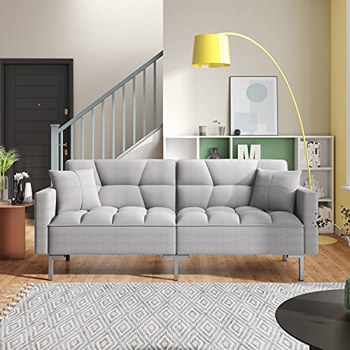 Linen Upholstered Futon Sofa Bed with Two Pillows, Convertible Sleeper Sofa Couch with 3 Angle Adjustable Backrest, Modern Loveseat with 6 Legs for Living Room, Bedroom (Light Grey + Linen)