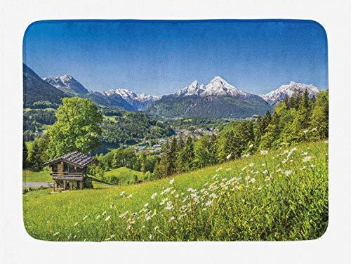 Alfombra de baño Nature, Foto de los Alpes bávaros Beauty Valley Small Mountain Village Cottage Panorama, Alfombra de decoración de baño de Felpa con Respaldo Antideslizante, 29.5 'X 17.5'