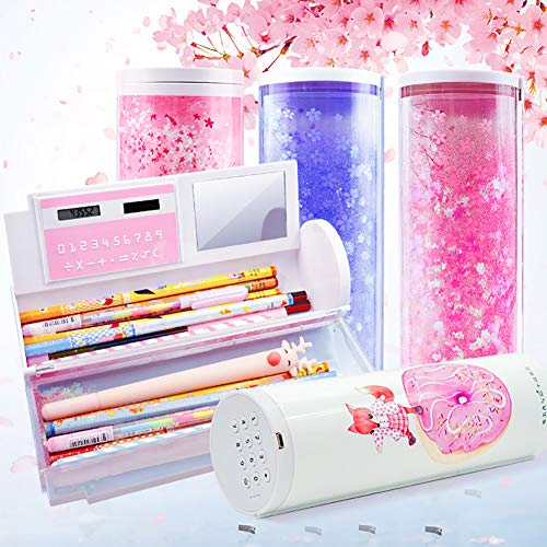 Cleey Cleey Smart Password Pencil Case Cartoon Pattern Pen Holder Large Capacity Stationery Box Home Computer Storage Bag with Password Lock Small Mirror Erasable Board for Kids