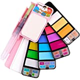 Sunshilor Pastel Watercolor Paint Set - 18 Assorted Colors with Brush, Foldable Portable Water Color...