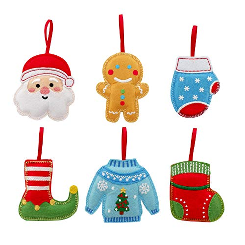 Christmas Ornaments - Set of 6 Plush Felt Handmade Hanging Ornaments in Santa, Gingerbread Man, Mitten, Elf Shoe, Ugly Sweater, Stocking Design for Trees, Calendars, Party Decor - Approx. 3.5' Each