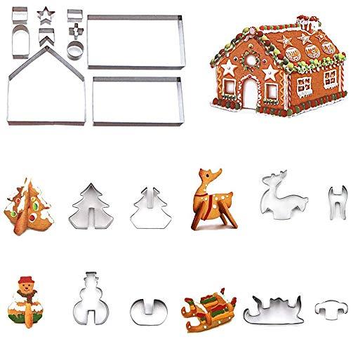 Formine Biscotti Natalizie 3D, ZoneYan Natale 18 Pezzi Biscotti Natalizi Stampi in Acciaio Inossidabile, 3D Stampi Biscotti Natale, Natalizio Formine per Biscotti