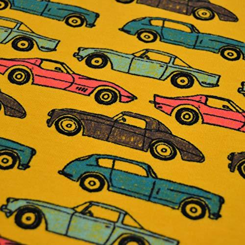 MAGAM-Stoffe My Cars Sweat Stoff Kinderstoff Oeko-Tex Meterware 50cm (Auf gelb)