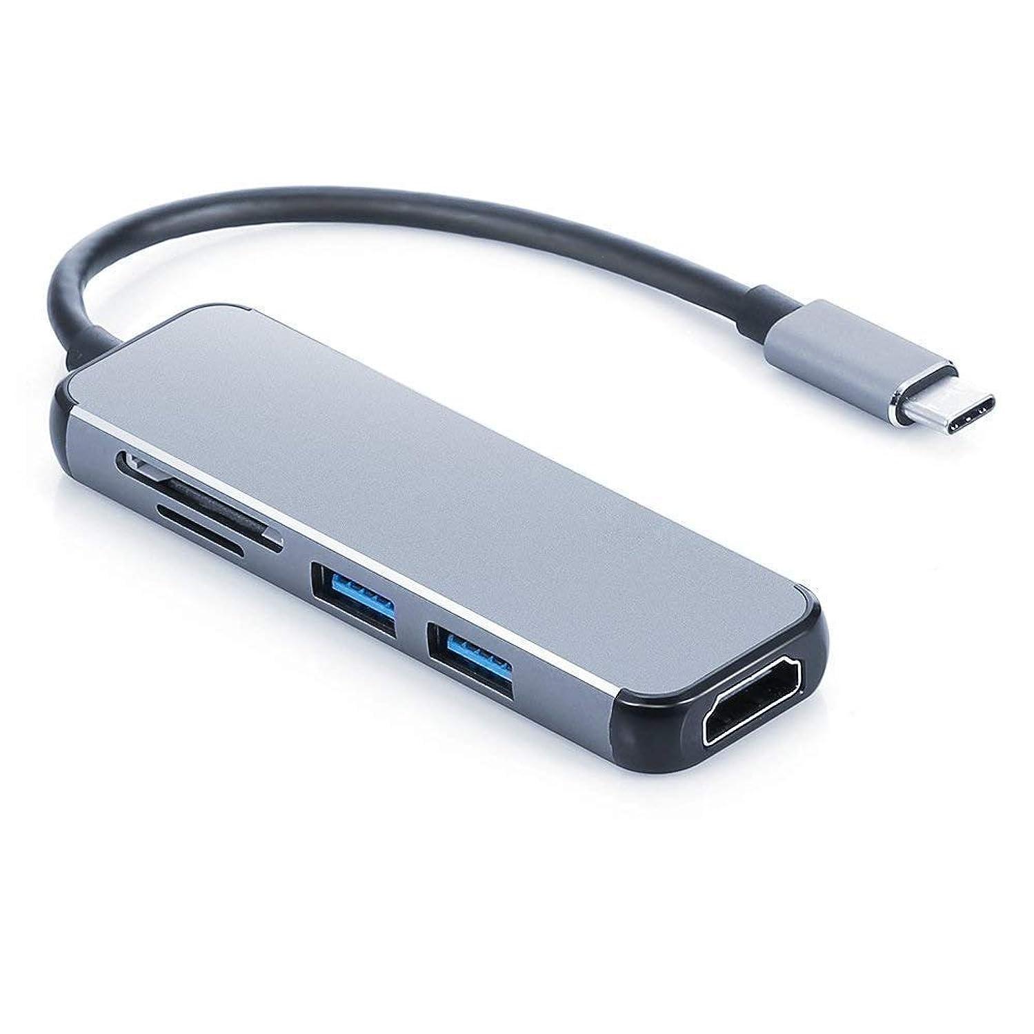 USB C Adapter, Type C HDMI Adapter, USB C Hub Docker convertor with Multiport USB 3.0,SD/TF Card Reader for New MacBook Pro, Google Chromebook, Samsung Galaxy S8/S9,HP/Dell,USB-C Device Grey