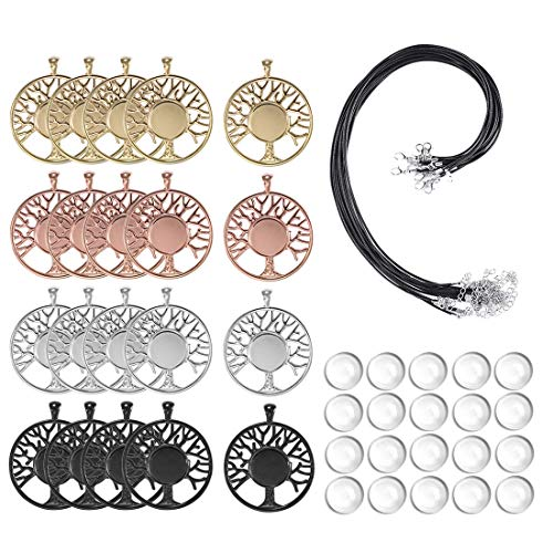 LANBEIDE 60Pieces Cabochons Crafting Kits-20Pcs Tree of Life Bezel Pendant Blank Trays with 20Pcs Glass Dome and 20Pcs Black Necklace Cords with Clasps for DIY Jewelry Making