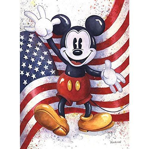 DIY 5D Diamante Pintura Kits, Kit de Pintura de Diamantes 5D Mickey Mouse y la bandera Diamond Painting Completo Bordado Punto de Cruz Craft para Home Decoración -Square Drill,90x120cm E2985