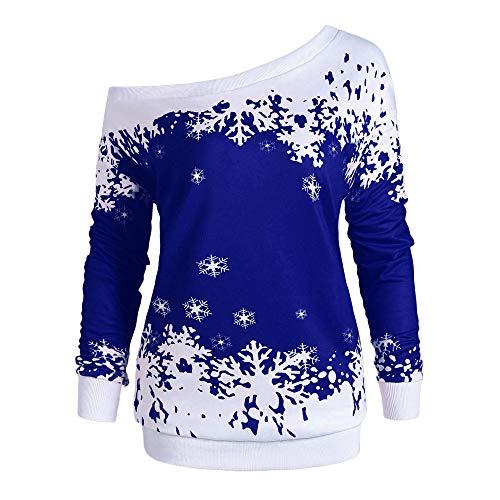 VEMOW Heißer Elegante Damen Frauen Frohe Weihnachten Weihnachtsmann Print Skew Kragen Casual Daily Party Freizeit Sweatshirt Bluse(X1-a-Blau, 42 DE / 3XL CN)