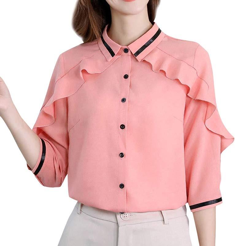 Prime Amazon Day Yetou Women Chiffon Shirt Korean Turn Down Collar Solid Color Fashion Casual Shirt Top