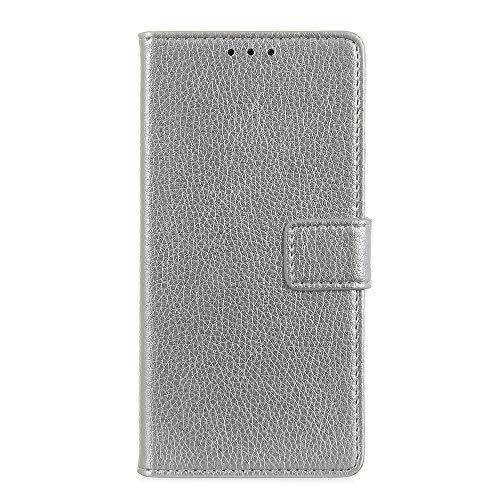Fatcatparadise Kompatibel mit LG V60 ThinQ 5G Hülle + Bildschirmschutz, Flip Wallet Hülle mit Kartenhalter & Magnetverschluss Einfarbiges Design PU Leder Hülle handyhülle (Silber)