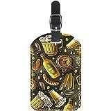 Etiquetas de equipaje de viaje de cuero de la PU de la impresión de la cerveza del verano Etiquetas de equipaje para mujeres y hombres etiquetas de identificación
