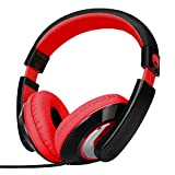 Rockpapa On Ear Stereo Headphones Earphones for Adults Kids Childs Teens, Adjustable, Heavy Deep Bass for iPhone iPod iPad MacBook Surface MP3 DVD Smartphones Laptop (Black/Red)