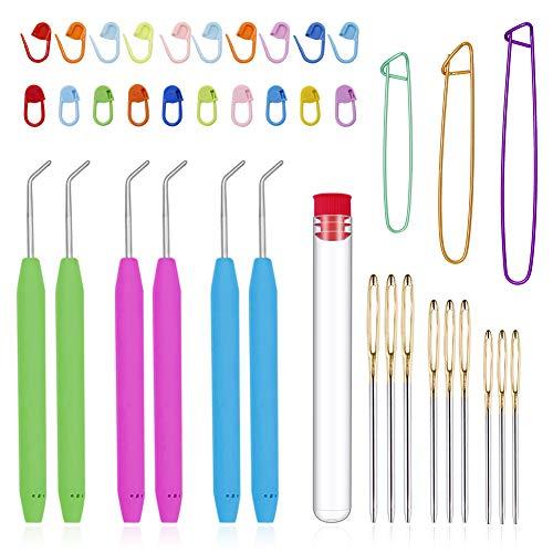 Loom Needle, Loom Hook Set, Colorful Knitting Loom Hook, Large-Eye Sewing Needles, Knitting Stitch Markers, Yarn Stitch Holders