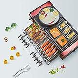 Grill elettrico hot pot BBQ Party Grill Multifunzione Macchina per raclette BBQ Pan Grill da tavolo senza fumo Piastra grill antiaderente con coperchio 2200W Regolazione temperatura per 5-10 persone