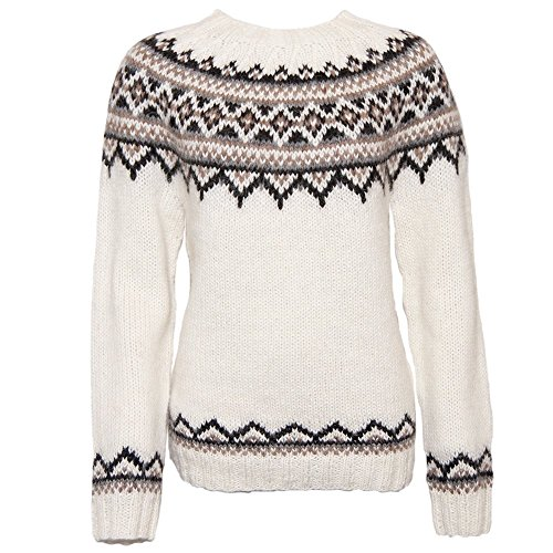 ICEWEAR Brynja 100% Icelandic Wool Hand Knitted Jumper with Crew-Neck White