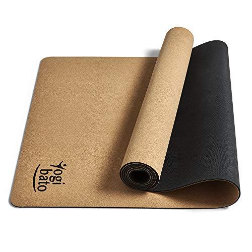 Yogibato Yogamatte Kork & Naturkautschuk – rutschfest schadstofffrei – Matte für Gymnastik Joga Pilates – Kautschuk Korkmatte mit Tragegurt – Hot Yoga Mat Cork [183 x 61 x 0,4 cm]