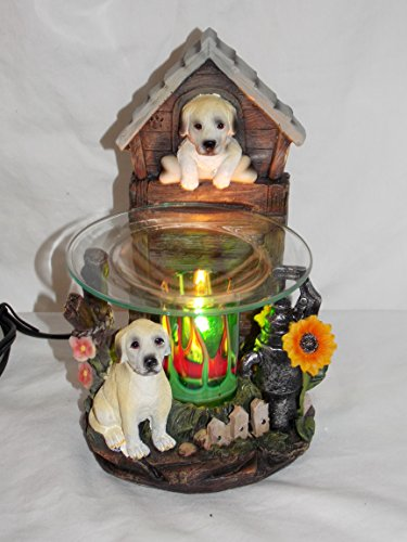 Home Collection Yellow Labrador Lab Dog in Garden, Electric Aroma Fragrance Oil Wax Tart Warmer Lamp, 8-inch
