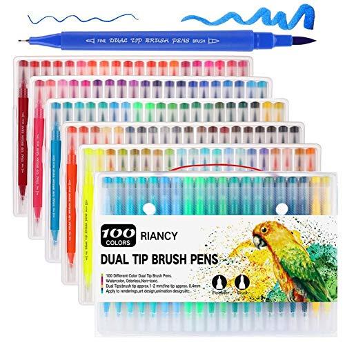 Qkdop 12/18/24/36/48/72/100 kleuren Fineliner tekening aquarel schilderkunst marker pennen dubbele punt borstel balpen schoolbenodigdheden schrijfwaren
