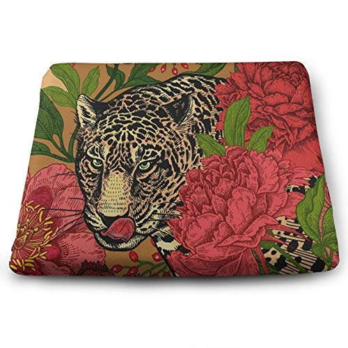 Leopard and Peonies Chair Seat Cushions Pads Memory Foam Office Dining Kitchen Soft Chair Cushion Set of 4 for Pressure Relief, Wheelchairs, Patio, Cafe, Garden, Indoor, Non Slip