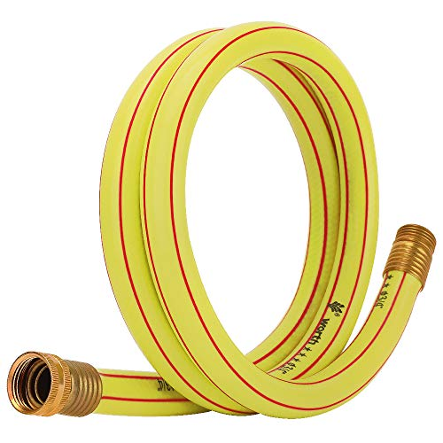 Homes Garden 3/4 in. x 5 ft. Short Garden Hose Yellow Lead-Hose Male/Female High Water Pressure with Solid Brass Fittings for Water Softener, Dehumidifier, Vehicle Water Filter 5 Years Warranty