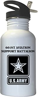 601st Aviation Support Battalion - US Army White Stainless Steel Water Bottle Straw Top, 1027