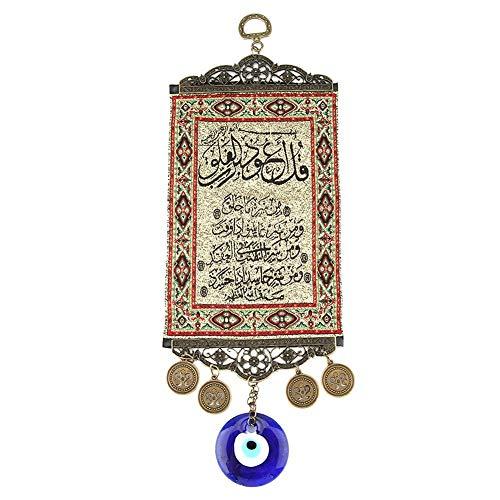 Hilitand Blue Evil Eye Turkish Blue Evil Eye Colgante de Pared Adorno Evil Eye Quran Tapicería Alfombra turca Colgante de Pared Decoración Amuleto de Pared Talismán Ama de casa Regalo de cumpleaños