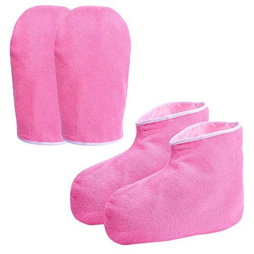 Cuasting - Guantes de baño de cera de parafina, hidratantes, guantes de trabajo, cobertor de spa para pies, kit de tratamiento de manos, calentador de parafina, guantes aislados