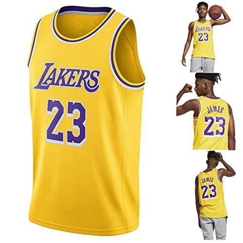 Lalagofe Lebron James, Los Angeles Lakers #23 Basket Jersey Maglia Canotta, Giallo, Un Nuovo Tessuto Ricamato, Stile di Abbigliamento Sportivo (L)
