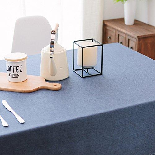 Coton Lin décoratifs Nappe facile à nettoyer Uni rectangle étanche Housse de table pour maison Hotel Cafe Restaurant, résistance à la chaleur et d'humidité, table de salle à manger Chiffon Tapis de pique-nique, bleu, 90*130cm