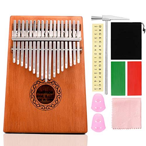 ZITFRI Kalimba Instrument Kalimba Pouce Piano 17 Cles Instrument de Musique du Monde Piano a Doigt Kalimba Africain pour Adulte Kalimba Debutant