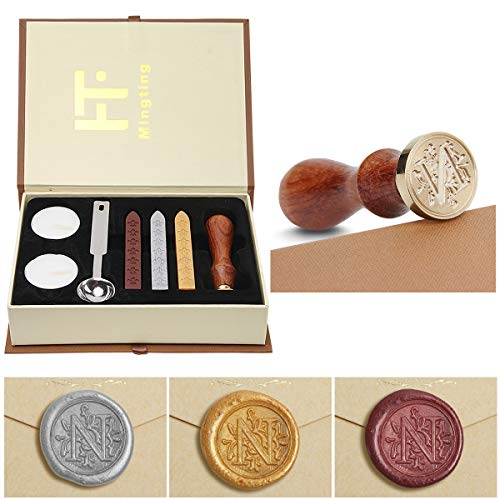 Wax Seal Stamp Kit,Mingting Classical Old-Fashioned Antique Wax Stamp Seal Kit Initial Letters Alphabet Set Gift Box with Vintage Wooden Handle and Brass Color Head(N)